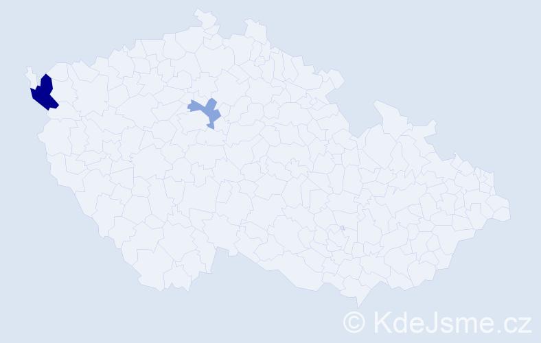 Příjmení: 'Heplová', počet výskytů 4 v celé ČR