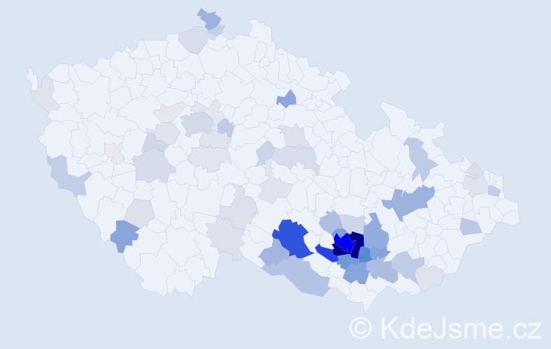 Příjmení: 'Blatný', počet výskytů 279 v celé ČR