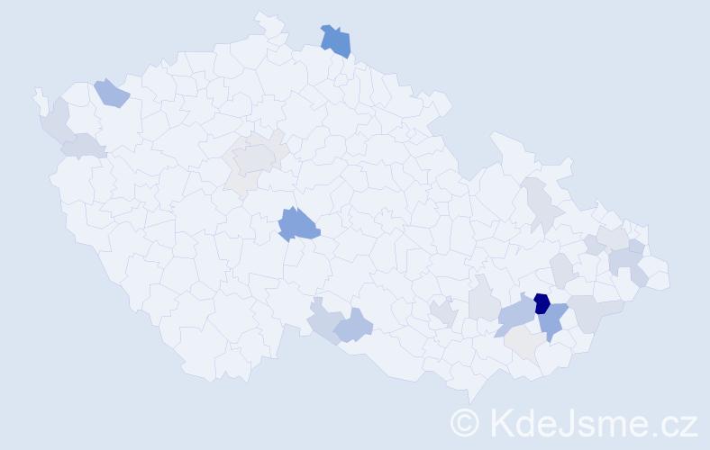 Příjmení: 'Lajdová', počet výskytů 86 v celé ČR