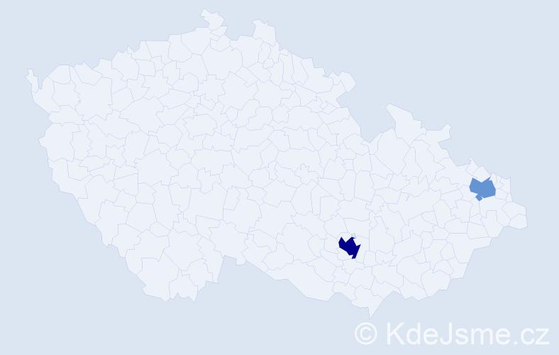 Příjmení: 'Emerici', počet výskytů 4 v celé ČR