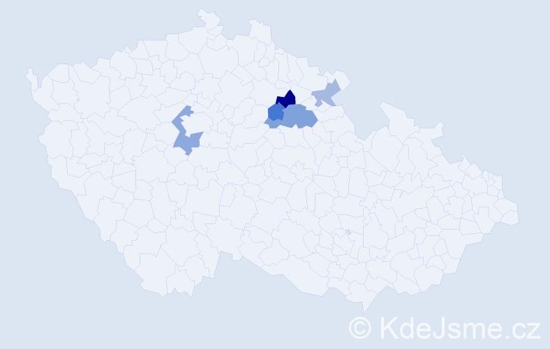 Příjmení: 'Elcner', počet výskytů 9 v celé ČR