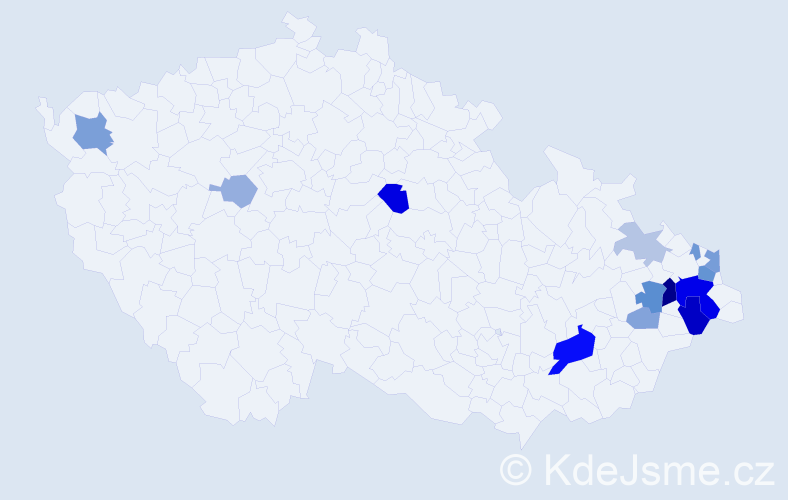 Příjmení: 'Ďurkáčová', počet výskytů 33 v celé ČR