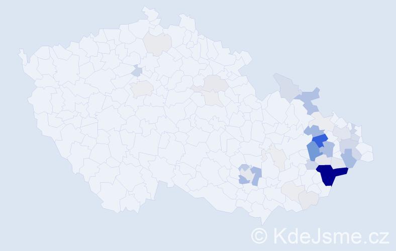 Příjmení: 'Dančáková', počet výskytů 148 v celé ČR