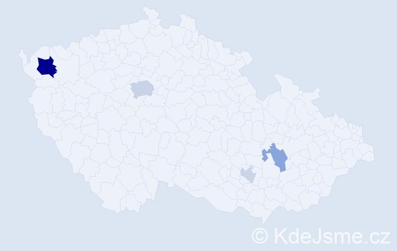 Příjmení: 'Bilak', počet výskytů 9 v celé ČR