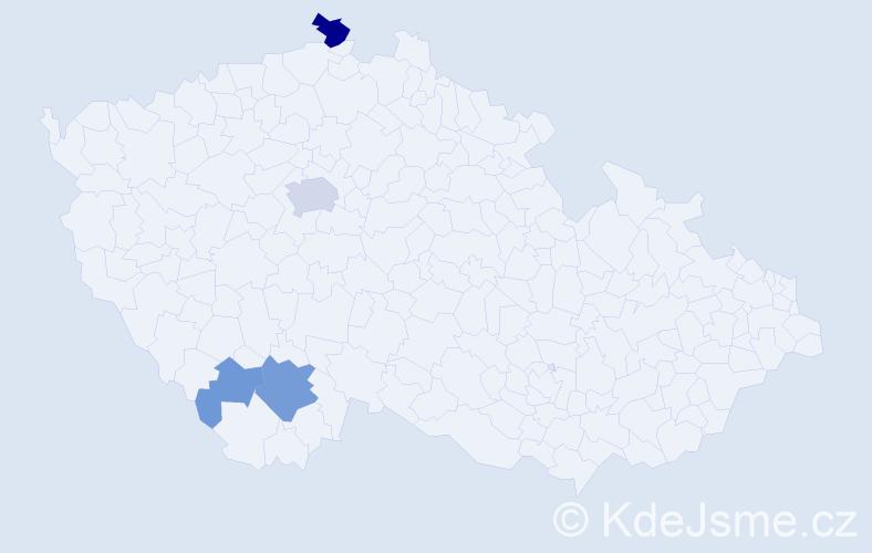 Příjmení: 'Kolar', počet výskytů 11 v celé ČR