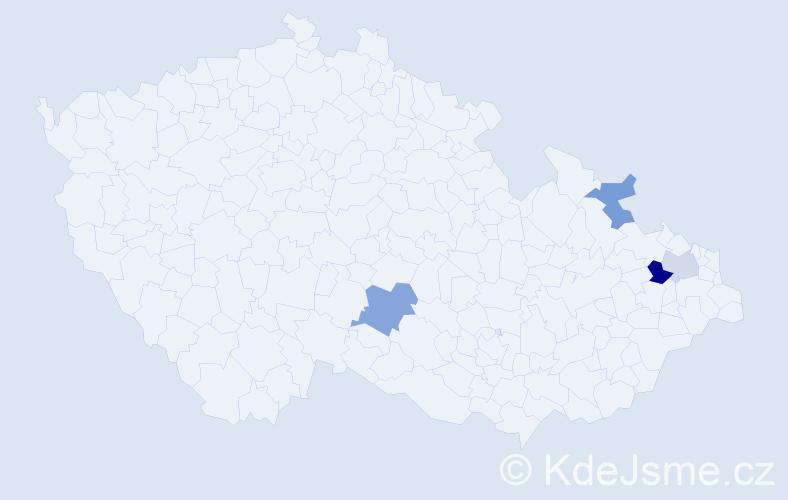 Příjmení: 'Cabúk', počet výskytů 11 v celé ČR