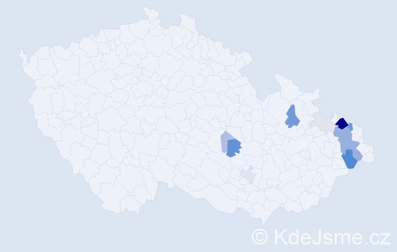 Příjmení: 'Fulneček', počet výskytů 53 v celé ČR