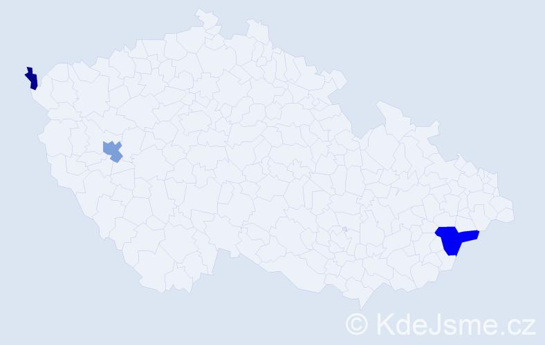 Příjmení: 'Hegeďová', počet výskytů 6 v celé ČR