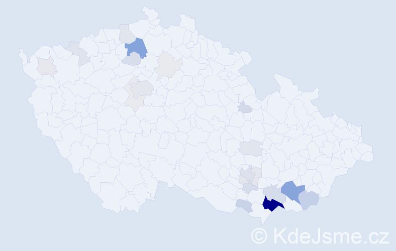 Příjmení: 'Balaštíková', počet výskytů 93 v celé ČR