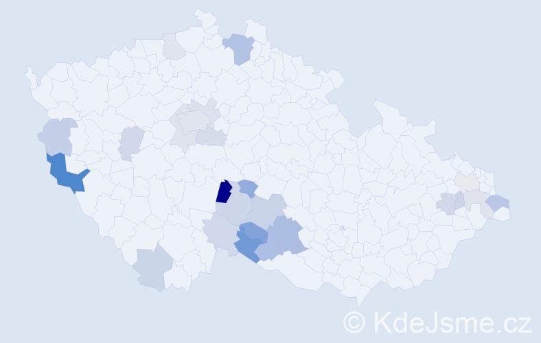 Příjmení: 'Čárová', počet výskytů 45 v celé ČR