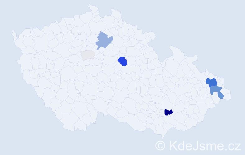 Příjmení: 'Lisíková', počet výskytů 13 v celé ČR