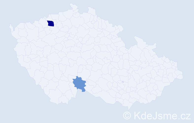 Příjmení: 'Habo', počet výskytů 5 v celé ČR