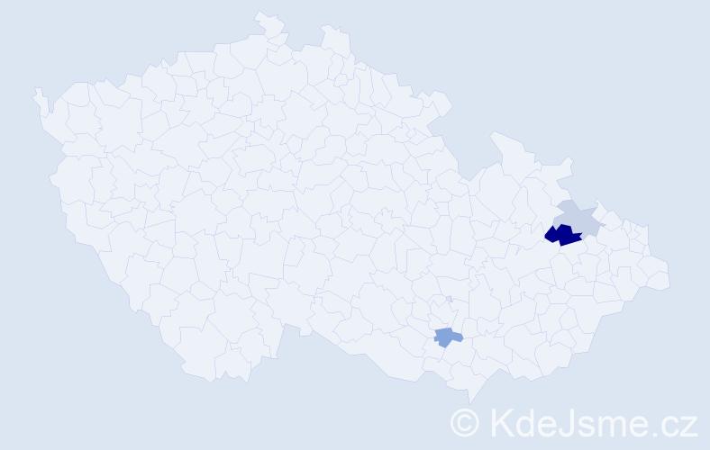 Příjmení: 'Ebst', počet výskytů 4 v celé ČR