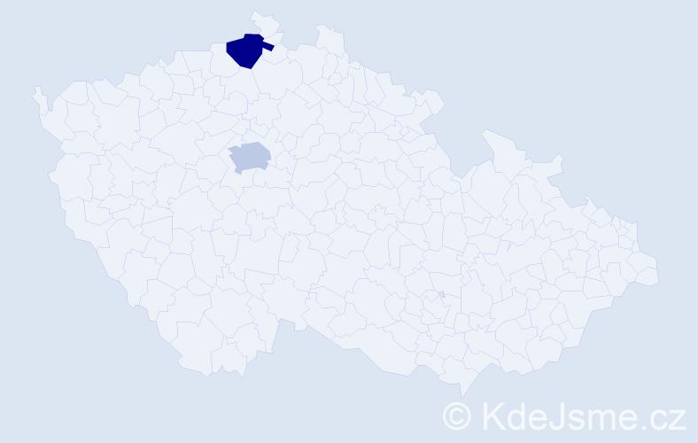 Příjmení: 'Cavallová', počet výskytů 2 v celé ČR