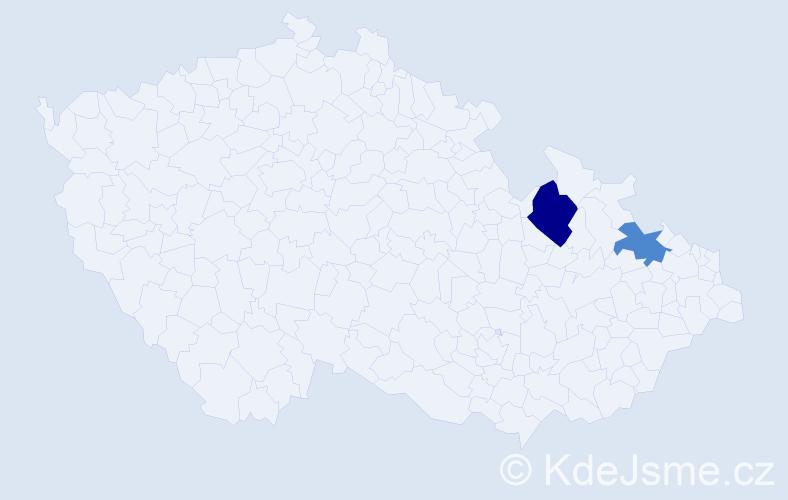 Příjmení: 'Lacuch', počet výskytů 8 v celé ČR
