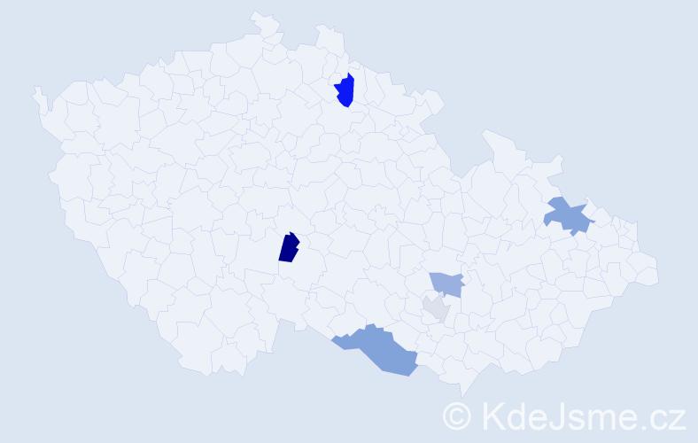 Příjmení: 'Beiglová', počet výskytů 9 v celé ČR