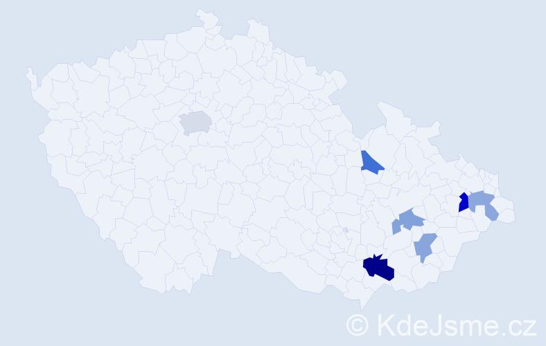 Příjmení: 'Čechál', počet výskytů 11 v celé ČR