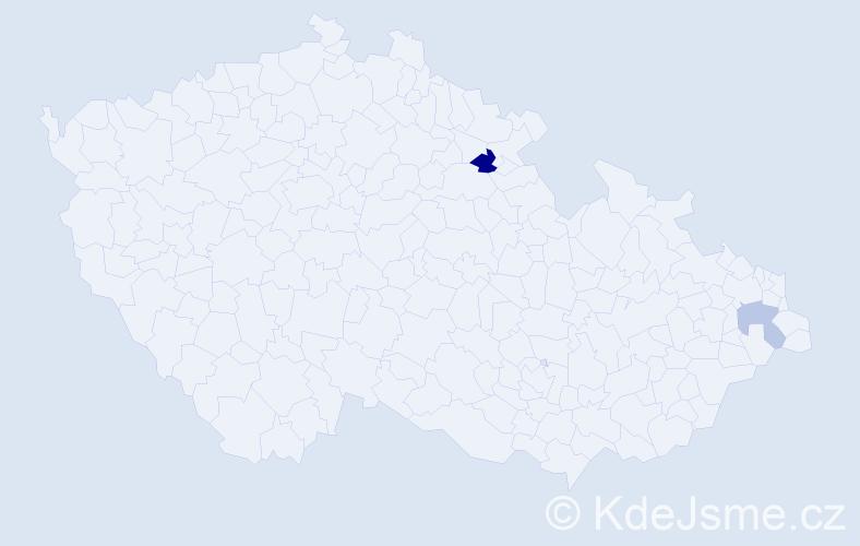 Příjmení: 'Kašajík', počet výskytů 9 v celé ČR