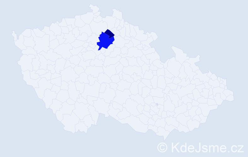 Příjmení: 'Kakasová', počet výskytů 10 v celé ČR