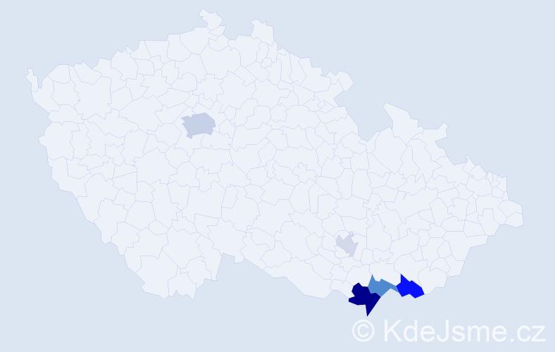 Příjmení: 'Lano', počet výskytů 13 v celé ČR