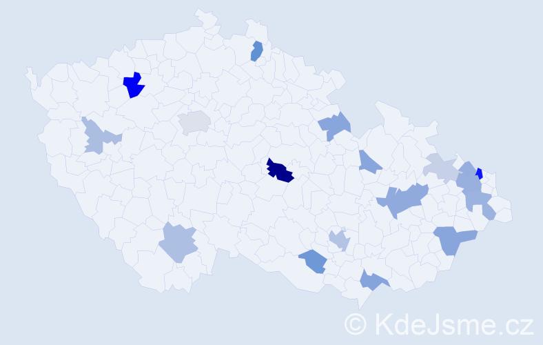 Příjmení: 'Hanuliak', počet výskytů 42 v celé ČR