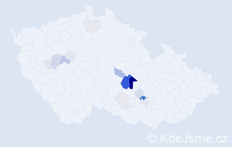 Příjmení: 'Lempera', počet výskytů 52 v celé ČR