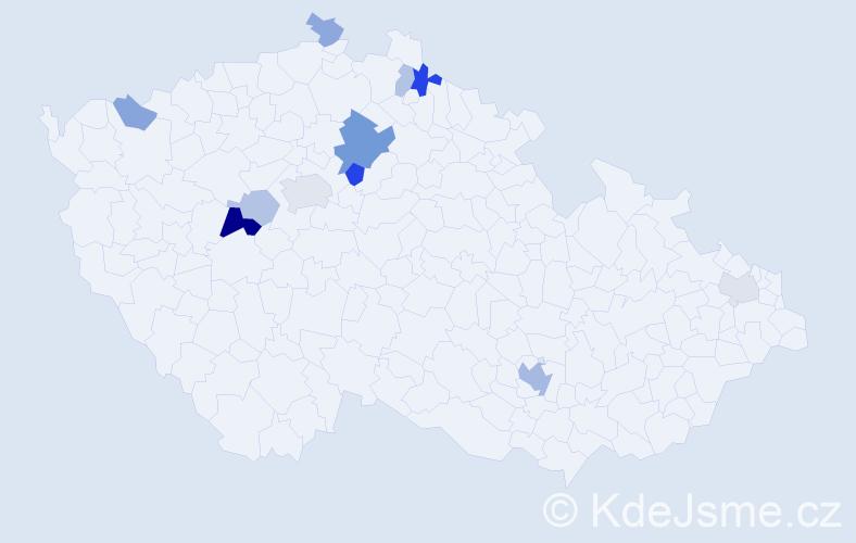 Příjmení: 'Ciprian', počet výskytů 25 v celé ČR