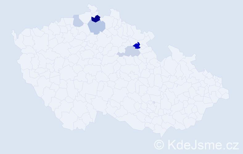 Příjmení: 'Hložný', počet výskytů 8 v celé ČR
