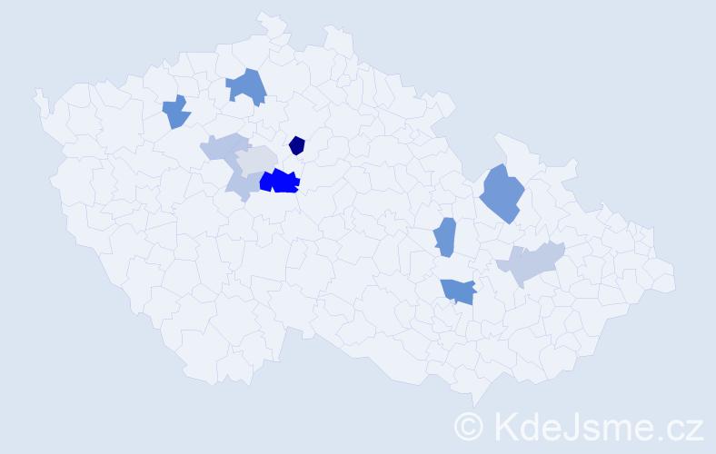 Příjmení: 'Koháček', počet výskytů 20 v celé ČR