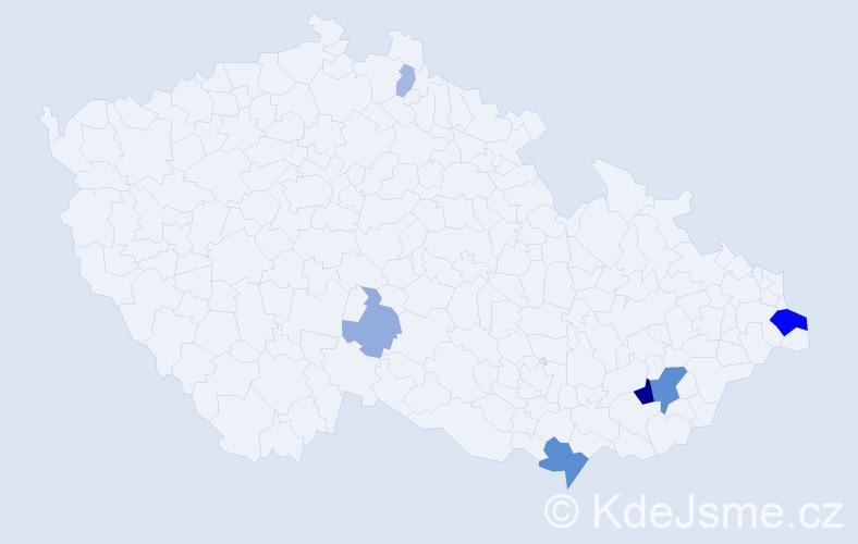 Příjmení: 'Hoďa', počet výskytů 18 v celé ČR