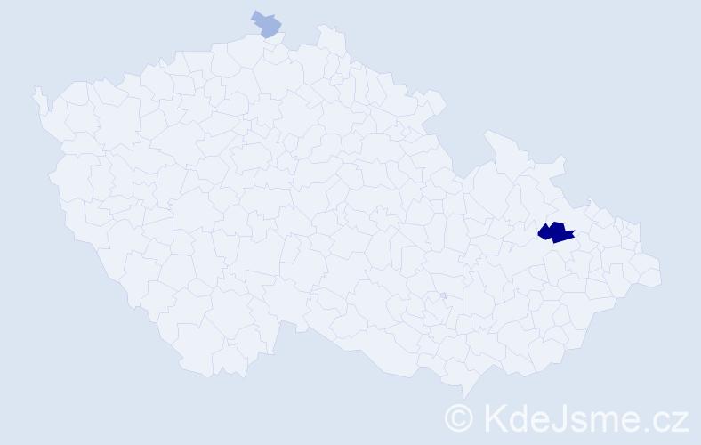 Příjmení: 'Duska', počet výskytů 7 v celé ČR