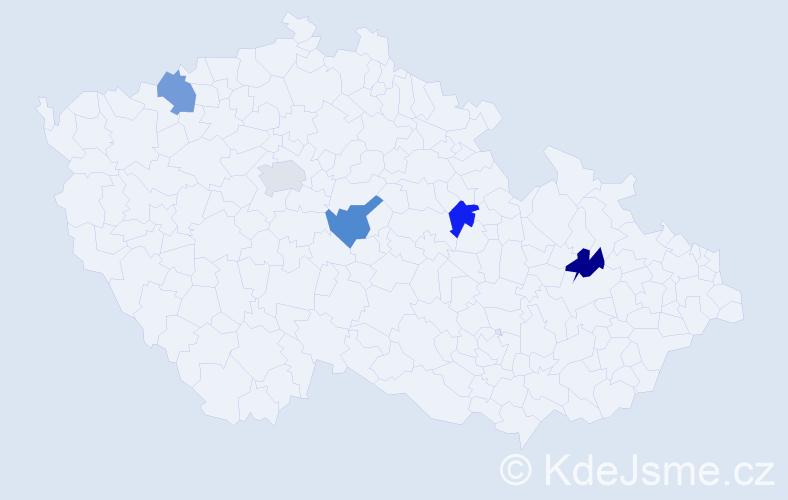 Příjmení: 'Ivinec', počet výskytů 5 v celé ČR
