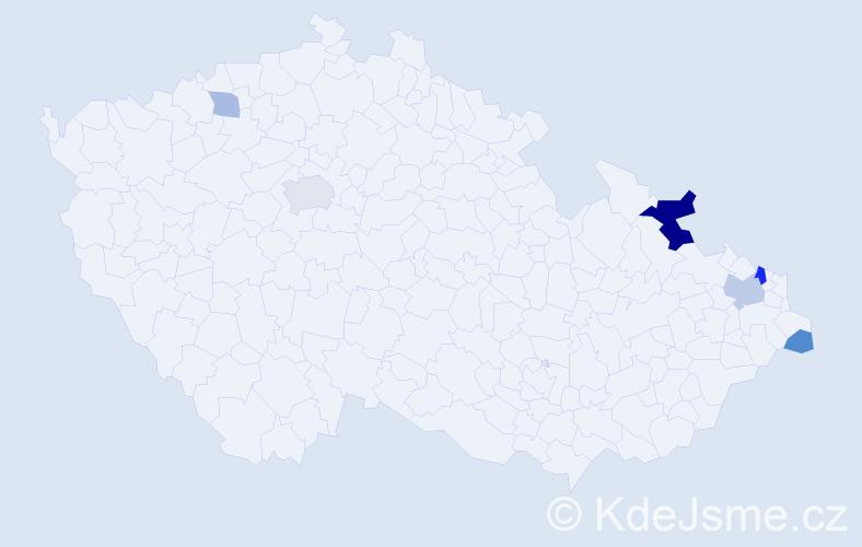 Příjmení: 'Czolková', počet výskytů 12 v celé ČR