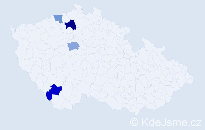 Příjmení: 'Degen', počet výskytů 9 v celé ČR
