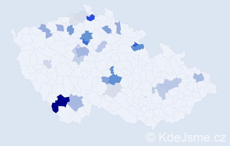 Příjmení: 'Lauda', počet výskytů 90 v celé ČR