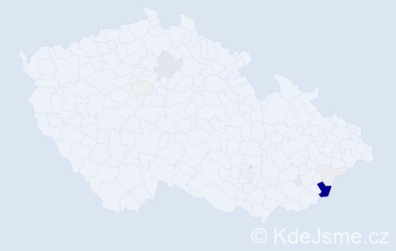 Příjmení: 'Hnaníček', počet výskytů 48 v celé ČR