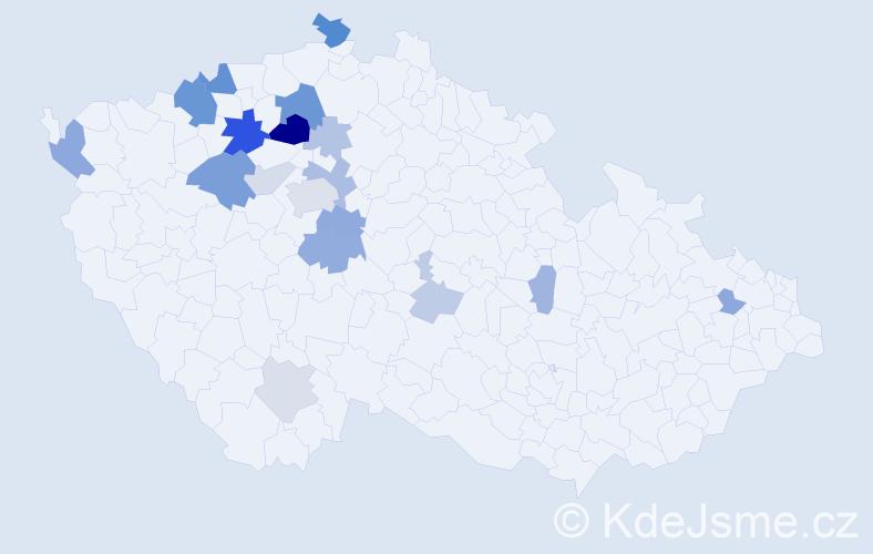 Příjmení: 'Kloub', počet výskytů 48 v celé ČR