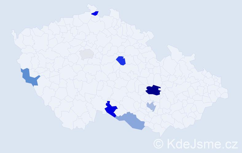 Příjmení: 'Feder', počet výskytů 11 v celé ČR