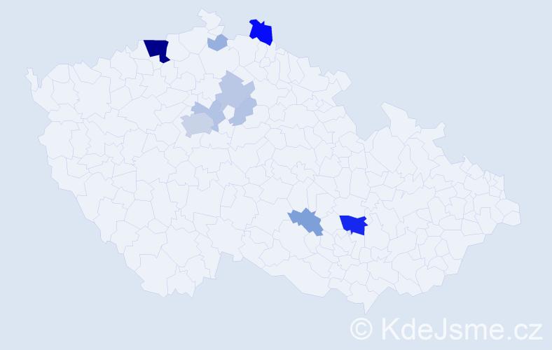 Příjmení: 'Kolomazníček', počet výskytů 49 v celé ČR