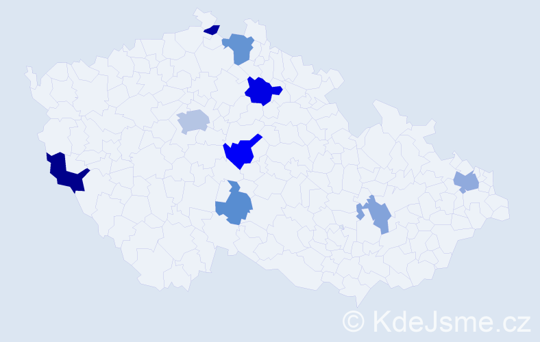 Příjmení: 'Abdallah', počet výskytů 17 v celé ČR