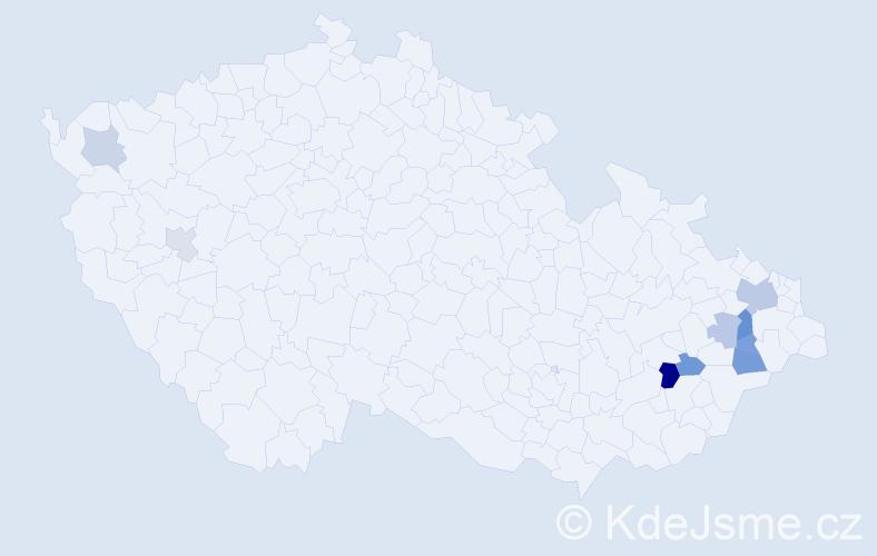 Příjmení: 'Bahner', počet výskytů 18 v celé ČR