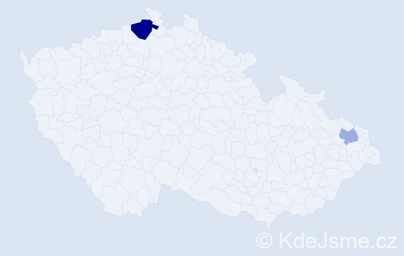 Příjmení: 'Čerevík', počet výskytů 3 v celé ČR