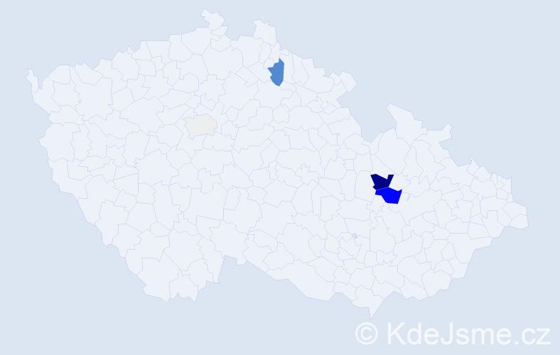 Příjmení: 'Eiba', počet výskytů 9 v celé ČR