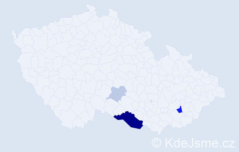 Příjmení: 'Hiessová', počet výskytů 13 v celé ČR