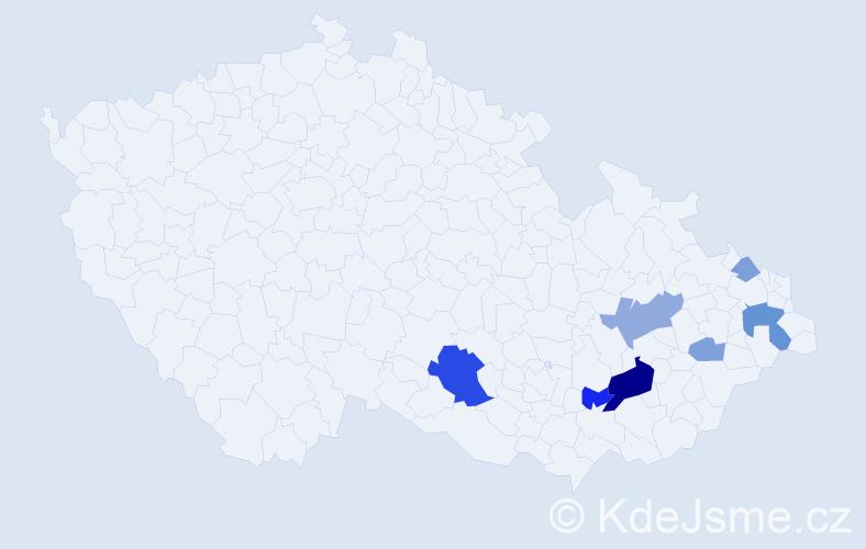 Příjmení: 'Gorková', počet výskytů 18 v celé ČR