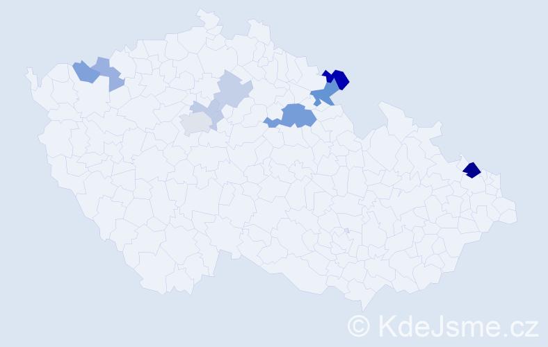 Příjmení: 'Klemenc', počet výskytů 21 v celé ČR
