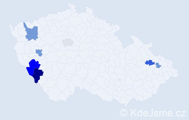 Příjmení: 'Hefler', počet výskytů 21 v celé ČR