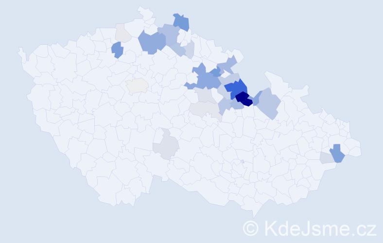 Příjmení: 'Hovad', počet výskytů 93 v celé ČR