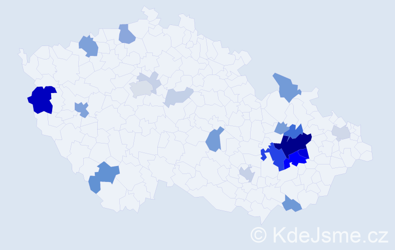 Příjmení: 'Bluma', počet výskytů 75 v celé ČR