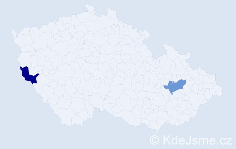 Příjmení: 'Kriegl', počet výskytů 2 v celé ČR
